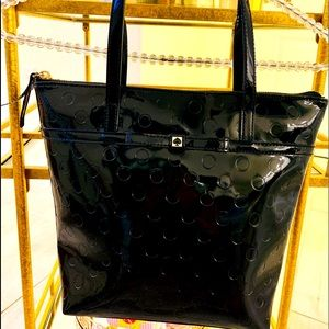 Kate Spade Black Patent Leather Dot Small Tote